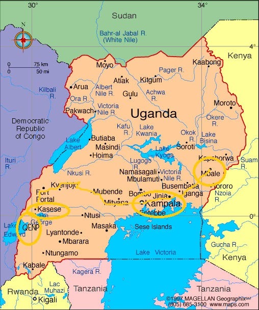Uganda Map with QE trip